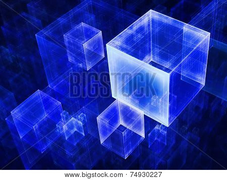Abstract transparent cubes background