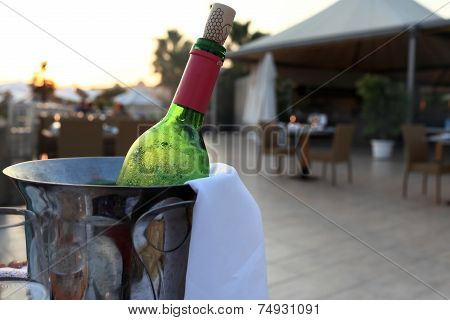 Bottle Of Red Wine In A Bucket