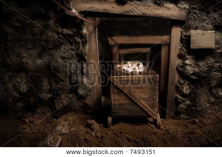 Old Mining car in tunnel