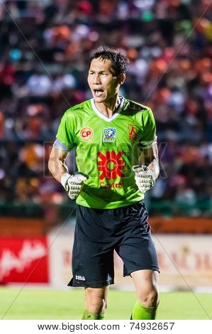 Sisaket Thailand-october 22: Kosin Hembut Of Air Force Central Fc. In Action During Thai Premier Lea