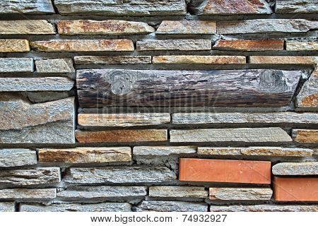 Modern Tiled  Wall From Natural Mixed Stone