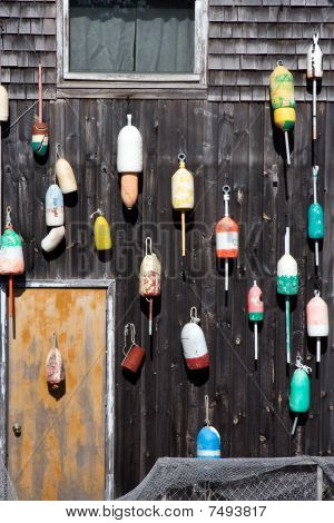 Brightly Colored Buoys on Lobster Shack