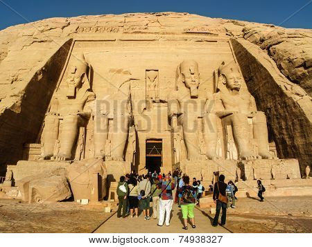 Tourists At The Great Temple Of Abu Simbel, Egypt