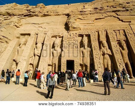 Tourists At The Temple Of Hathor/nefertari At Abu Simbel, Egypt