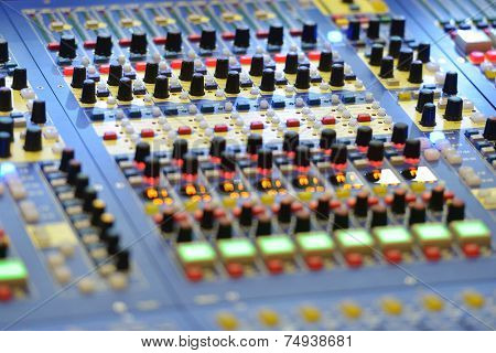 Closeup view of sound mixer control