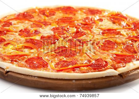Pizza with Salami and Tomatoes