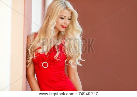 Portrait of beautiful woman with long hair.