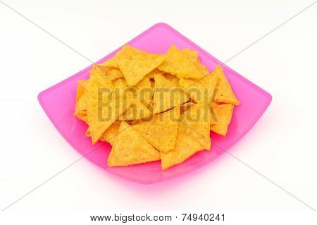 Tortilla Chips In Plastic Dish On White Background