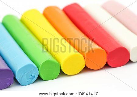 Colorful Rod Plasticine Arranging On White Background