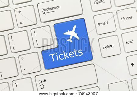White Conceptual Keyboard - Tickets (blue Key With Aeroplane Symbol)