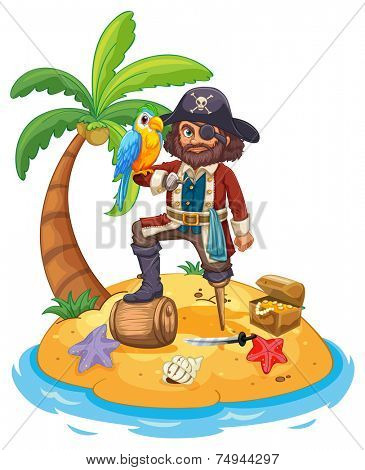 illustration of a pirate standing on an island