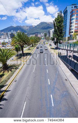 modern avenue in Quito Ecuador