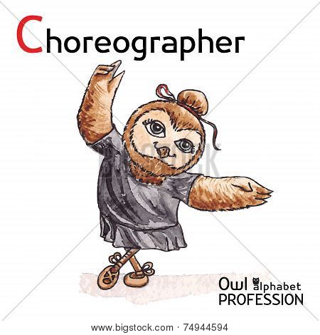 Alphabet professions Owl Letter C - Choreographer Vector Watercolor.