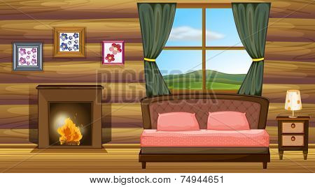 illustration of a bedroom with fireplace