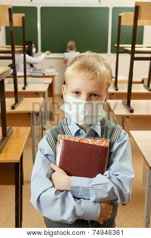 School Children In Medical Face Mask