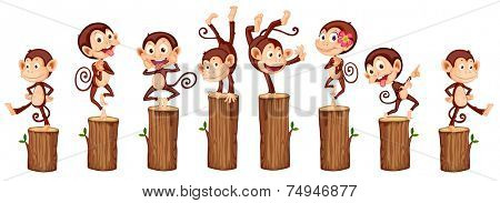illustration of many monkeys on the log