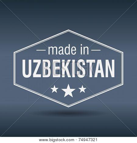 Made In Uzbekistan Hexagonal White Vintage Label
