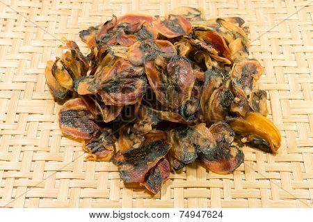 Dry Mussel On  Basketwork Background