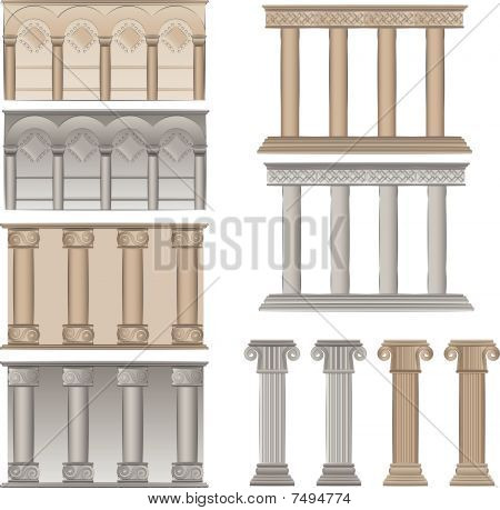 pillars and columns vector illustrations