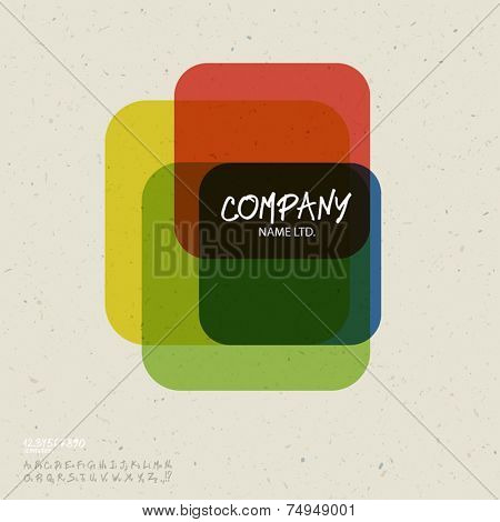 Social abstract logo vector design template. Colorful cubes concept on recycled paper texture, retro styled. With handwritten letters set. Vector