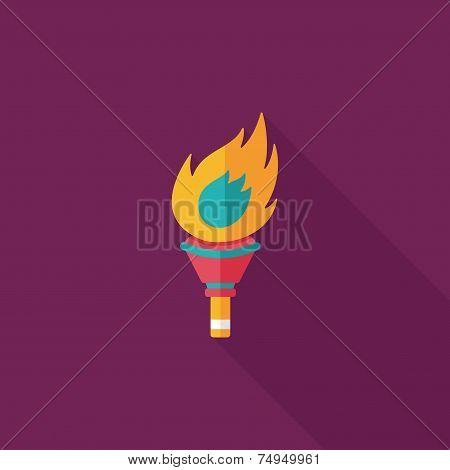 Flaming Torch Flat Icon With Long Shadow,eps10
