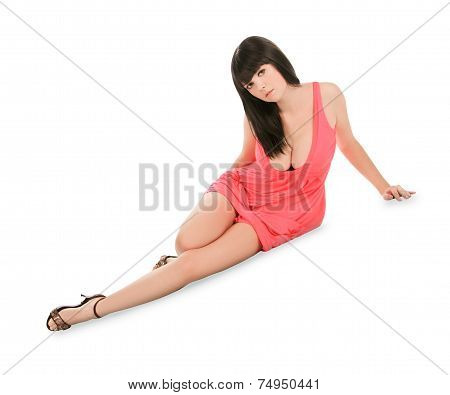 Lovely Young Lady In Pink Dress Lying Isolated White Background
