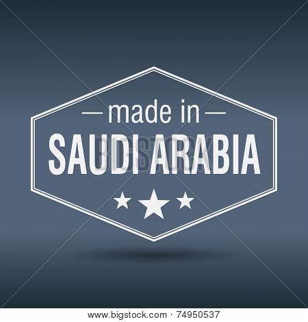 Made In Saudi Arabia Hexagonal White Vintage Label