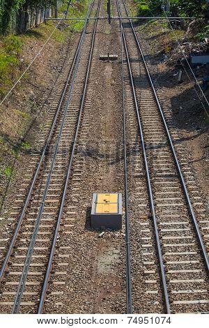 Double railway track