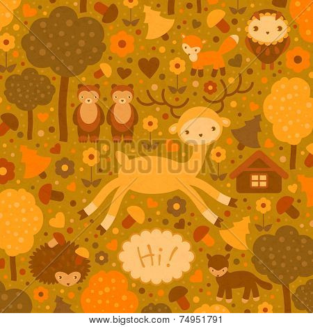 vector funny card with wild animals