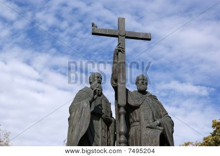 Monument To Ss. Cyril And Methodius On Slavyanskaya Square In Moscow