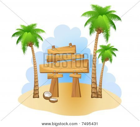 Palm and wooden sign