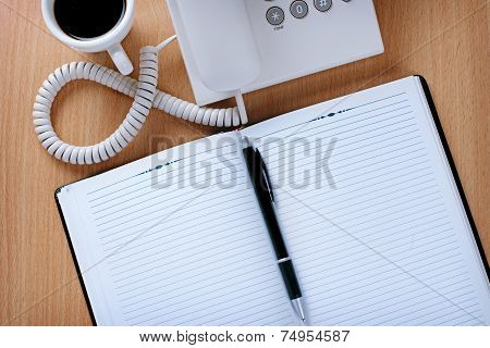 Customer Service Table With Coffee, Notes And Pen