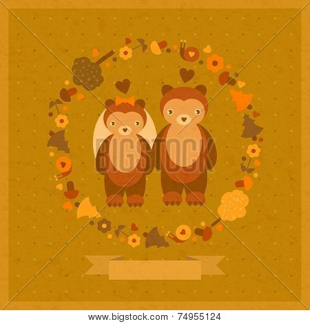 vector wedding amusing card with bears