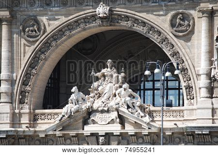 Architectural detail of the facade of the Palace of Justice in Rome, Italy