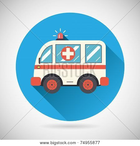 Ambulance car Icon Health Treatment Symbol  on Stylish Background Modern Flat Design Vector Illustra