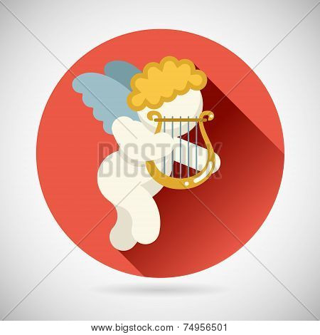 Angel Cherub Symbol Baby Boy with Harp Lira Icon on Stylish Background Modern Flat Design Vector Ill