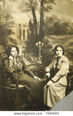 Historical Retro Photo, Beginning Of Xx Century, Portrait Of Two Young Women