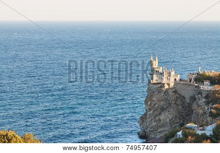 Aurora Rock With Swallow's Nest Castle In Evening