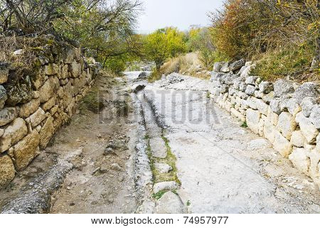 Stone Road In Medieval Town Chufut-kale In Crimea