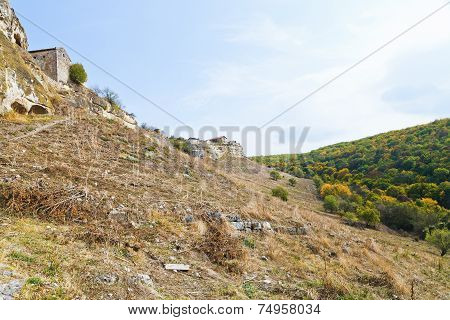 Mountain Slope And Ancient Town Chufut-kale Crimea