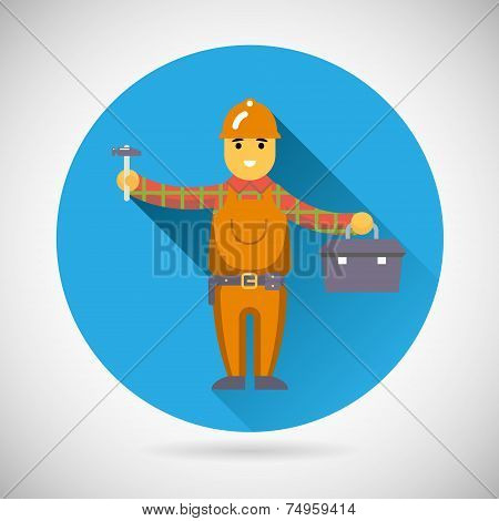 Worker repairer character with hammer toolbox icon construction repair symbol on Stylish Background