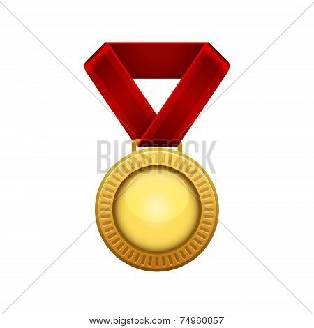 Champion Gold Medal with Red Ribbon.