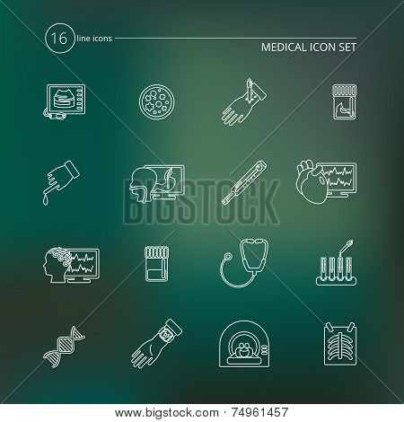 Medical tests icons outline