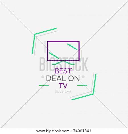 Minimal line design shopping stamps and symbols, futuristic style TV