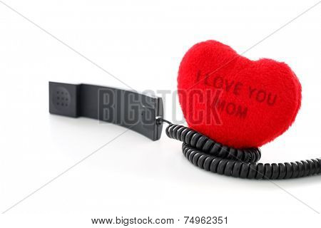 I love you. Calling to a mom on mothers day on white background