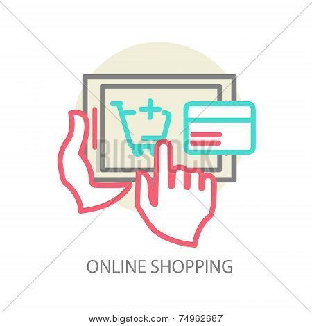 Line vector internet shopping concept - browser window and credit card