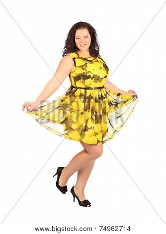 Portrait Of Beautiful Plus Size Young Brunette Woman Posing On White Background