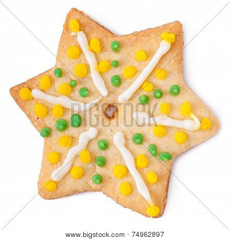 Christmas cookies in the shape of a star isolated on white background