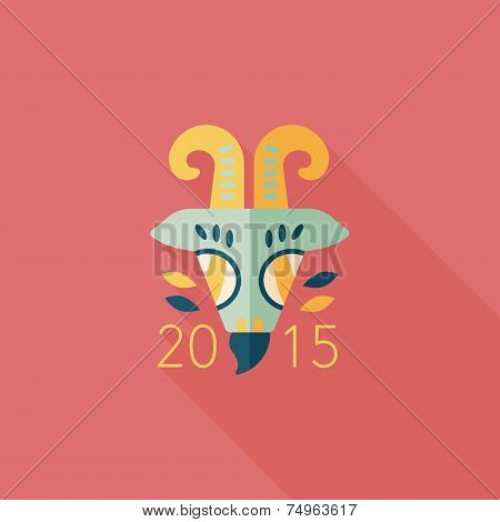 Chinese New Year Flat Icon With Long Shadow,eps10, Chinese Zodiac Year Of The Goat, 2015