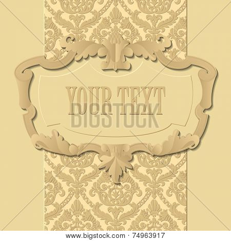 Paper beige baroque frame against a vintage background